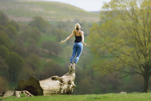Woman Standing Tree Stump