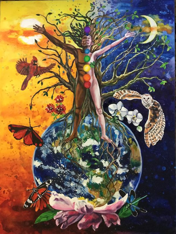 A black/white man/woman standing on the earth with roots going into the ground and branches growing towards the sun and moon. Owl, cardinal, butterflies.