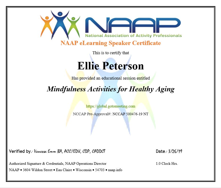 NAAP eLearning Speaker Certificate for Mindfulness Activities for Healthy Aging Webinar